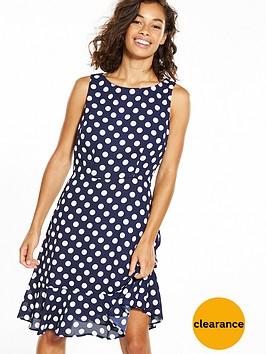 wallis-petitenbspfluted-hem-spot-dress