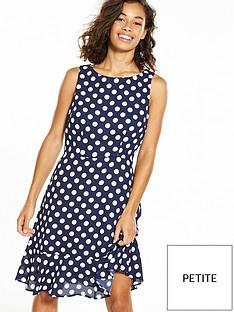 wallis-wallis-petite-fluted-hem-spot-dress