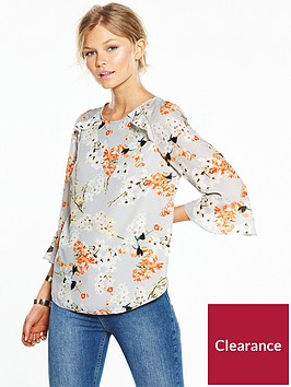 wallis-petite-orange-blossom-printed-blouse-with-fluted-sleeves