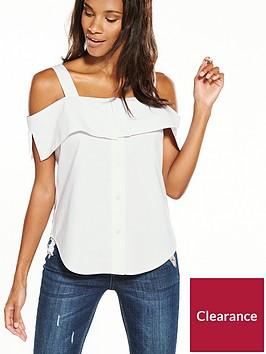 warehouse-button-through-off-shoulder-cami-white