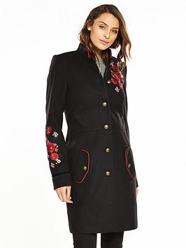 V By Very Embroidered Military Coat