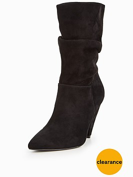 v-by-very-simone-suede-ruched-calf-boot-black