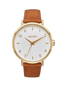 nixon-arrow-leather-white-dial-gold-tone-case-saddle-leather-strap-ladies-watch