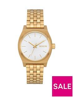 nixon-medium-time-teller-white-dial-gold-tone-stainless-steel-bracelet-ladies-watch