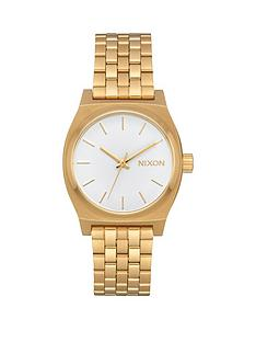 nixon-nixon-medium-time-teller-white-dial-gold-tone-stainless-steel-bracelet-ladies-watch