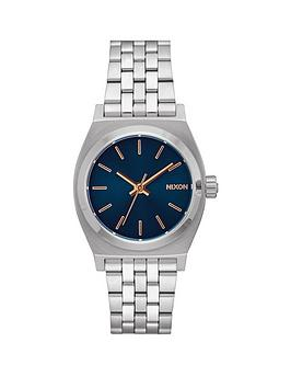 nixon-nixon-medium-time-teller-navy-dial-silver-tone-stainless-steel-bracelet-ladies-watch