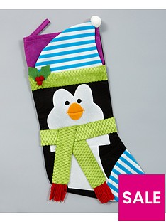 gisela-graham-penguin-fabric-christmas-stocking