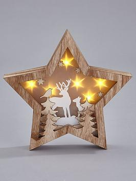 gisela-graham-wooden-star-forest-scene-light-box-christmas-decoration