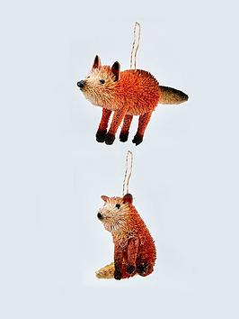 gisela-graham-bristle-fox-hanging-christmas-tree-decorations-2-pack