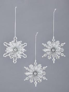 gisela-graham-silver-glitter-snowflake-hanging-christmas-tree-decorations-3-pack