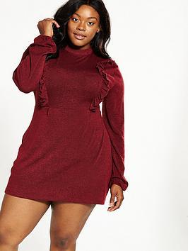 Ax Paris Curve Knit Frill Day Dress - Wine