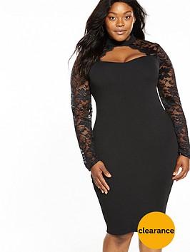 ax-paris-curve-lace-sweetheart-neck-bodycon-dress-black