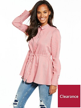 v-by-very-stripe-pearl-cuff-drawstring-shirt