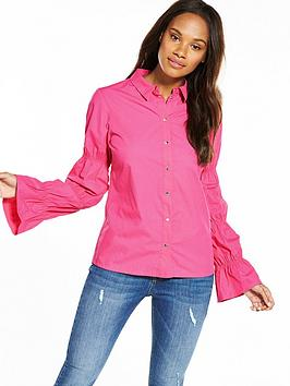 v-by-very-ruched-sleeve-popper-shirt