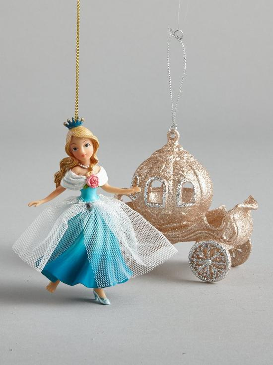 Gisela Graham Cinderella And Carriage Hanging Christmas Tree Decorations (2  Pack) | Very.co.uk