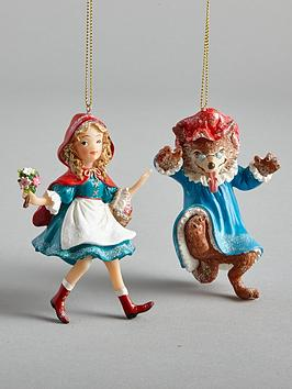 gisela-graham-red-riding-hood-and-wolf-christmas-tree-decorations-2-pack