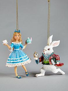 gisela-graham-alice-in-wonderland-hanging-christmas-tree-decorations-2-pack