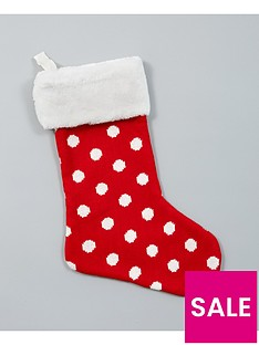 gisela-graham-knitted-spotty-christmas-stocking