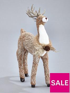 gisela-graham-glittered-bristle-deer-christmas-decoration