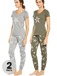 v-by-very-2-pack-stars-print-short-sleeve-pj-greykhaki