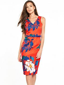 Closet Floral Belted Pencil Dress