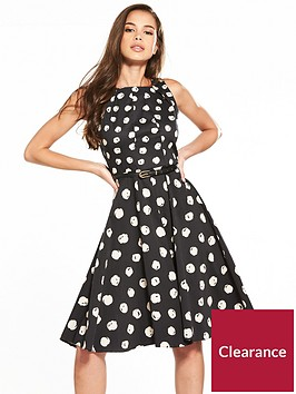 closet-fit-and-flare-belted-print-dress