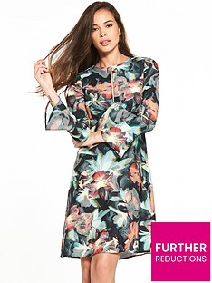 closet-tropical-print-fluted-sleeve-dress