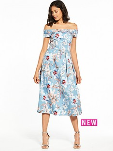 bardot-floral-midi-dress
