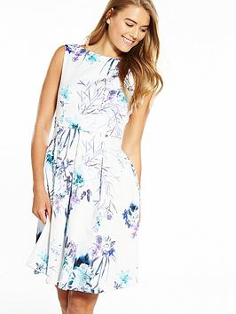 Closet Sleeveless Pleat Front Floral Dress