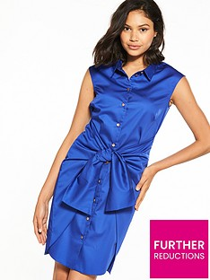 closet-nbspcloset-tie-waist-shirt-dress-blue