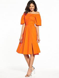 off-shoulder-bardot-dress-orange