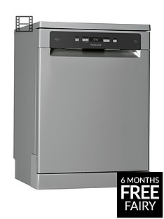 Hotpoint HFC3C26WSV Full Size 14-Place Dishwasher with Quick Wash and 3D Zone Wash - Silver