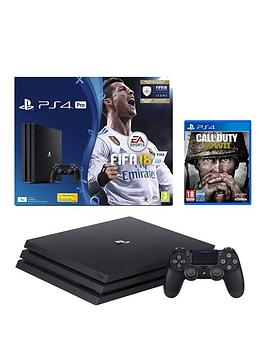 Image of Playstation 4 Pro Ps4 Pro Black Fifa 18 Console With Call Of Duty Wwii, 365 Psn Subscription Card And Extra Dualshock Controller