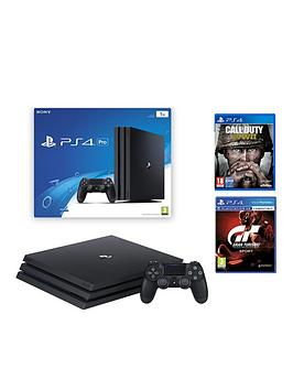 Image of Playstation 4 Pro Black Console With Call Of Duty Wwii And Gran Turismo Sport Plus Optional Extra Controller And/Or 12 Months Playstation Network - Ps4 Pro Black Console With Call Of Duty Wwii And Gra