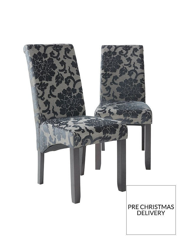 Terrific Pair Of Oxford Fabric Dining Chairs Black Caraccident5 Cool Chair Designs And Ideas Caraccident5Info