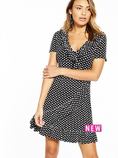v-by-very-jersey-spot-print-wrap-dress