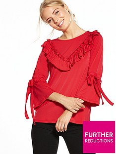 v-by-very-jersey-ruffle-tie-sleeve-top-red