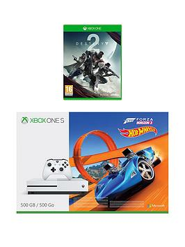 Image of Xbox One S 500Gb Console And Forza Horizon 3 Hot Wheels And Destiny 2 Plus Optional Extra Controller And/Or 12 Months Xbox Live Gold - Xbox One S 500Gb Console And Forza Horizon 3 Hot Wheels + Wireles
