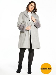 v-by-very-curve-faux-fur-cuff-coat-grey