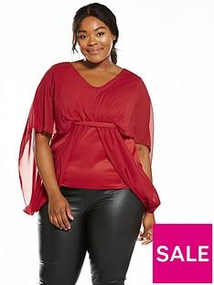 girls-on-film-curve-chiffon-cinch-waist-kimono-top-red