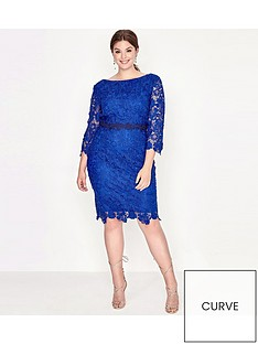 paper-dolls-curve-crochet-lace-contrast-trim-dress
