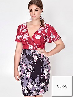 paper-dolls-curve-blossom-printed-two-tone-dress
