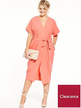 closet-curve-wrap-dress-with-tie-coral