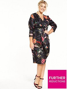 closet-curve-three-quarter-sleeve-scuba-wrap-dress