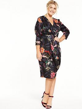 Closet Curve Three-Quarter Sleeve Scuba Wrap Dress