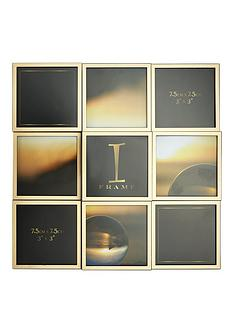 grey-amp-gold-9-aperture-multi-picture-photo-frame
