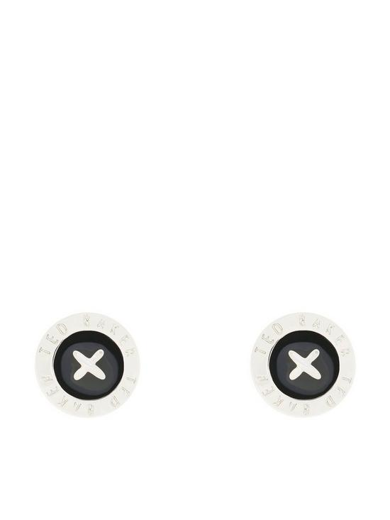 c66339b06 Ted Baker Enamel Mini Button Earring - Silver/Black | very.co.uk