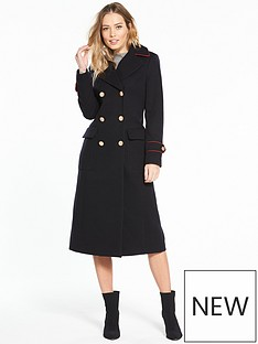 v-by-very-long-military-coat-with-piping-navy