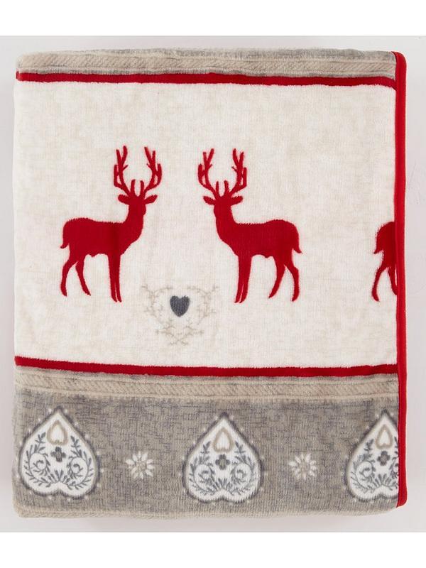 Christmas Fleece.Printed Christmas Reindeer Fleece Throw