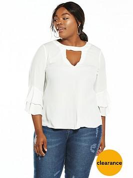 v-by-very-curve-frill-sleeve-choker-blouse--nbspivory